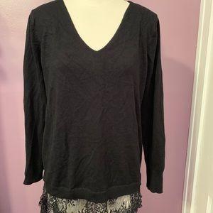 Black bottom lace sweater